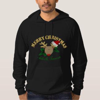 メリーなナッシュビルのクリスマスのトナカイメンズフード付きスウェットシャツ パーカ