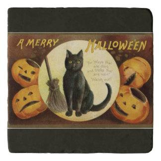 メリーなハロウィンの黒猫およびカボチャ黒 トリベット