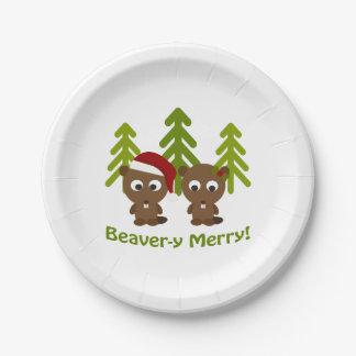 メリーなビーバーy! クリスマスのビーバー ペーパープレート