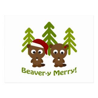 メリーなビーバーy! クリスマスのビーバー ポストカード
