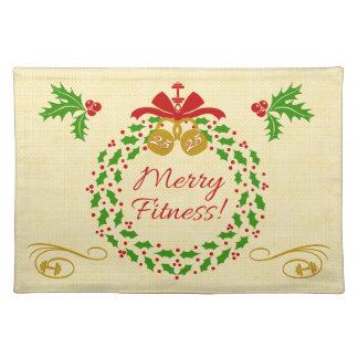 メリーなフィットネスのリースのクリスマスの布のランチョンマット ランチョンマット