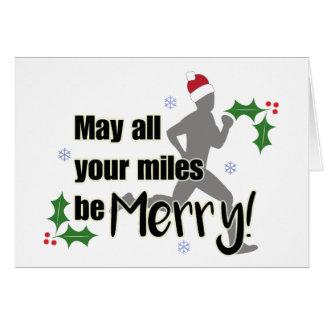 メリーなマイル2.0人の休日のランナーのクリスマスカード カード