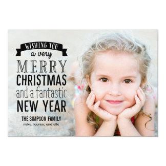 メリーなメッセージの休日の写真カード-上敷 カード