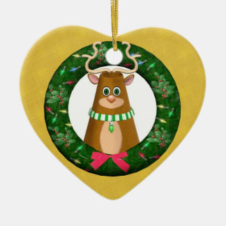 メリーなユール(キリスト降誕祭)の漫画の雄鹿のリースのハートのオーナメント 陶器製ハート型オーナメント