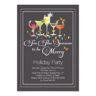 メリーな休日のカクテルのパーティの招待状があって下さい カード