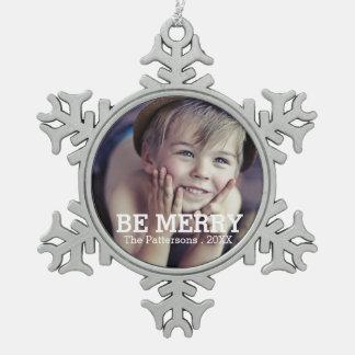 メリーな写真のクリスマス家族のオーナメントがあって下さい スノーフレークピューターオーナメント
