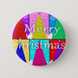 メリーな子猫のクリスマスボタン 5.7CM 丸型バッジ