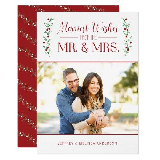 メリーな果実 の新婚者のクリスマスの写真カード カード