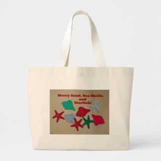 メリーな砂、貝殻およびヒトデ ラージトートバッグ