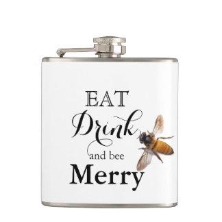 メリーな飲み物および蜂を食べて下さい フラスク