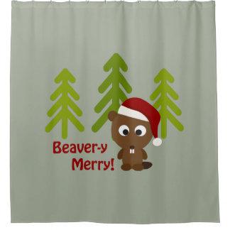 メリーなBeavery! サンタのかわいいビーバー シャワーカーテン