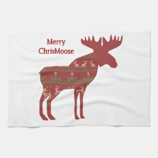 メリーなChrisMooseのおもしろいなクリスマスのアメリカヘラジカ動物の芸術 キッチンタオル