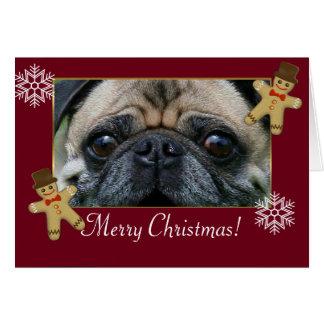 メリーなCristmasのパグ犬 カード