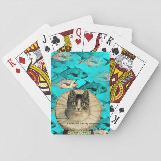 メリーなFishmasのヴィンテージ猫のクリスマスのユーモア トランプ