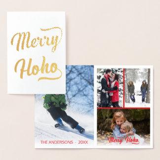 メリーなHo Ho赤いクリスマス4の写真のコラージュ 箔カード