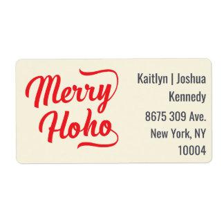 メリーなHo Ho赤い原稿の上敷のフェスティバルのクリスマス ラベル