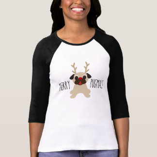 メリーなPugmasのクリスマスのトナカイのパグのワイシャツ Tシャツ
