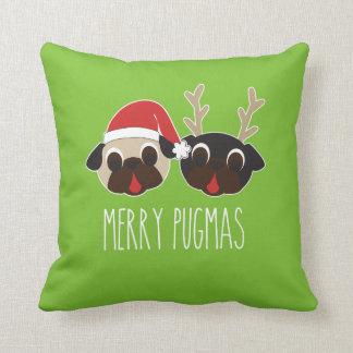 メリーなPugmasのクリスマスの枕トナカイ及びサンタのパグ クッション