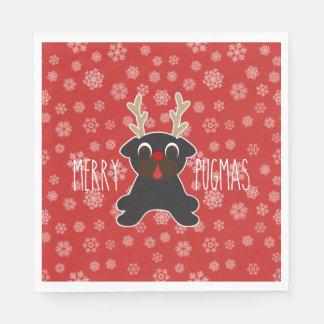 メリーなPugmasのパグのトナカイのクリスマスの雪片 スタンダードランチョンナプキン