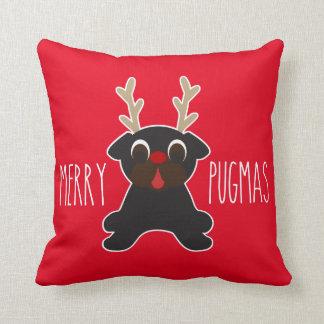メリーなPugmasの黒いパグのトナカイ クッション