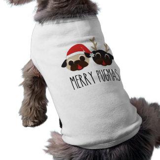 メリーなPugmasサンタのパグのトナカイのパグ ペット服