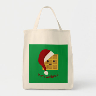 メリーなWafflemasのクリスマスのワッフル トートバッグ