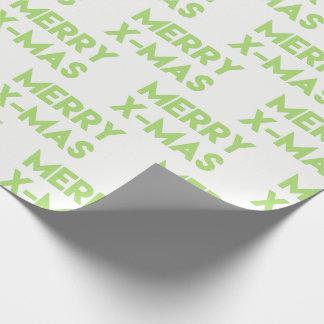 メリーなX-masのモダンな緑のクリスマスの包装紙 ラッピングペーパー