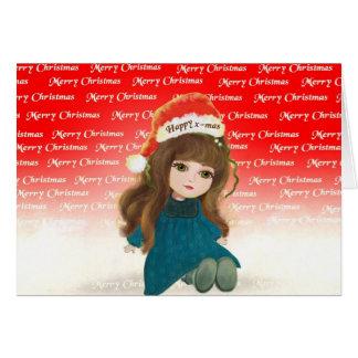 メリーなx-masの漫画のかわいい人形カード カード