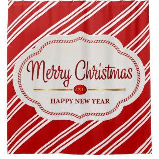 メリークリスマスおよび明けましておめでとうのキャンディ・ケーン シャワーカーテン