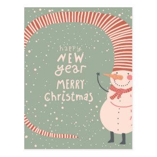 メリークリスマスおよび明けましておめでとうの漫画 ポストカード