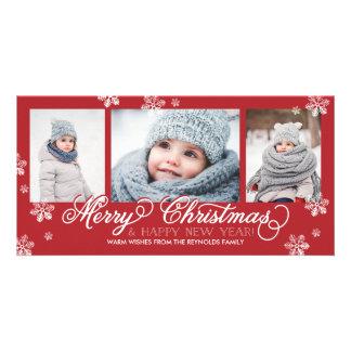 メリークリスマスおよび明けましておめでとうの雪片 フォトグリーティングカード