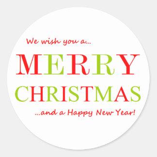 メリークリスマスおよび明けましておめでとう ラウンドシール