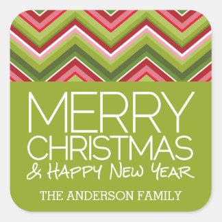 メリークリスマスおよびHNY -カスタムで明るいシェブロン スクエアシール