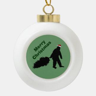 メリークリスマスのおもしろいなビッグフットの木のオーナメントの球 セラミックボールオーナメント