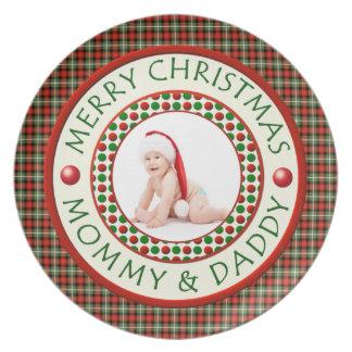 メリークリスマスのお母さんおよびお父さんの写真 プレート