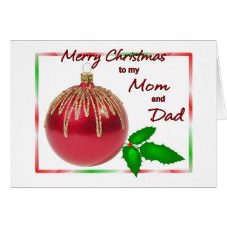 メリークリスマスのお母さんおよびパパの赤および金ゴールドの球との カード