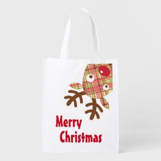 メリークリスマスのお洒落なトナカイ エコバッグ