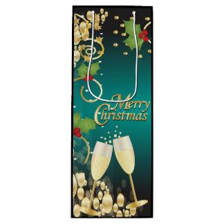 メリークリスマスのお祝いの青緑および金ゴールド ワインギフトバッグ