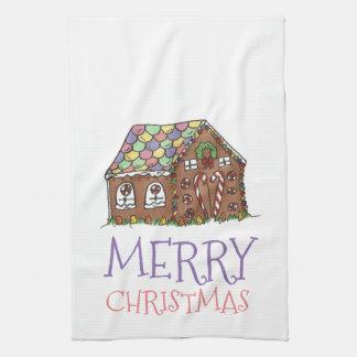メリークリスマスのお菓子の家の休日タオル キッチンタオル