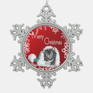 メリークリスマスのかわいい子猫のピューターの雪片Orname スノーフレークピューターオーナメント