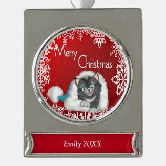 メリークリスマスのかわいい子猫の旗のオーナメント- Silve シルバープレートバナーオーナメント