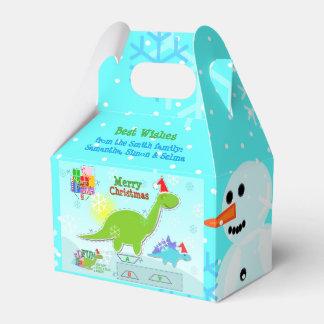 メリークリスマスのかわいい恐竜の休日Papercraft フェイバーボックス