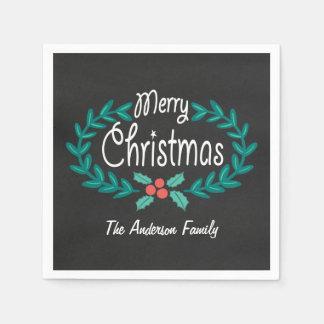 メリークリスマスのかわいい手描きの黒板のリース スタンダードカクテルナプキン
