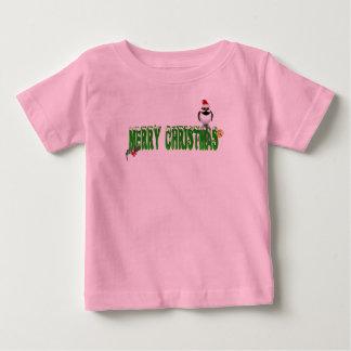 メリークリスマスのすずめの(緑の)ワイシャツ ベビーTシャツ