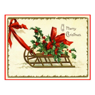 メリークリスマスのそりのヴィンテージの再生の郵便はがき ポストカード