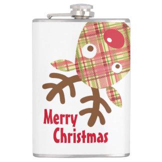 メリークリスマスのよろよろしているトナカイ フラスク