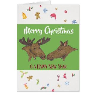 メリークリスマスのアメリカヘラジカ カード