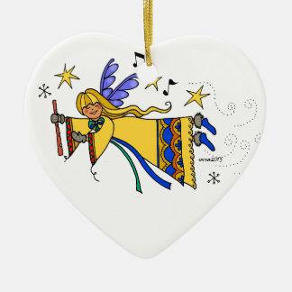 メリークリスマスのウクライナの民芸の天使 セラミックオーナメント