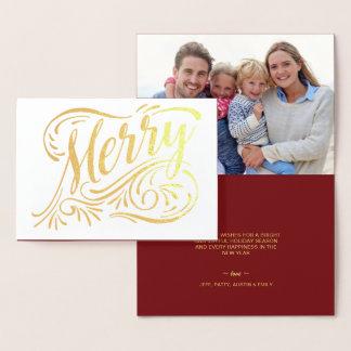 メリークリスマスのエレガントな手書きの金ゴールドホイル 箔カード