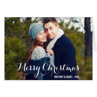 メリークリスマスのカップルの写真の折目カードW カード